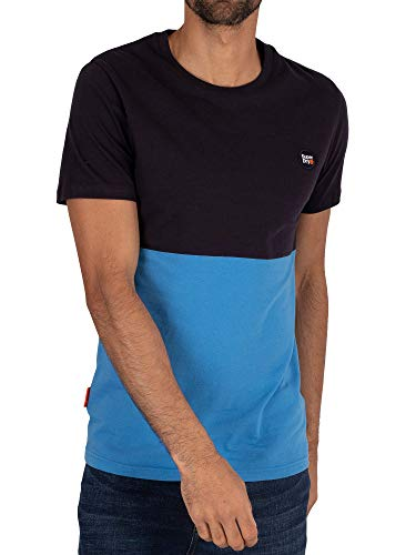 Superdry de los Hombres Camiseta Colectiva Color Block, Azul, 3XL