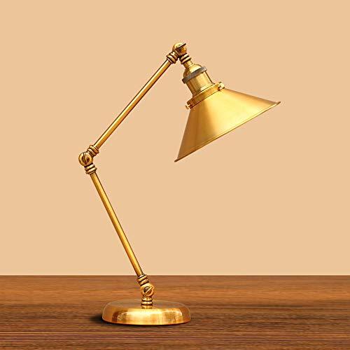 Desktop Light Gollado Golden Vintage Hierro forjado Retro Lámpara de mesa Retro Ajuste mecánico Luces de escritorio Estilo industrial Attic Office Lighting Light Lea Lámpara de mesa Lámpara de mesa pl