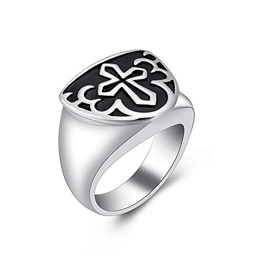 shajwo Cremation Urn Ring Jewelry for Ashes Engraved Cross Memorial Urn Ring Stainless Steel Celtic Knot Retro Keepsake Ashes Holder Ring,Silver 9