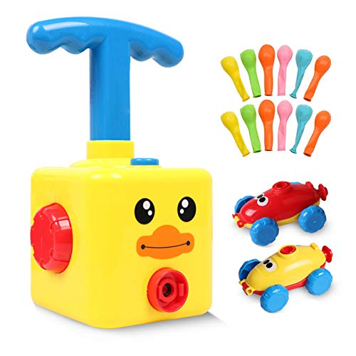 Sunshine smile Kinder Ballon Auto Spielzeug,Children Inertial Power Ball Car,Balloon Powered Car Balloon Launcher Toy,Luftballonpumpe Lernspielzeug mit 12 Ballon(Gelbe Ente)
