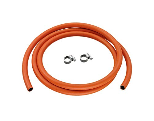alfagomma 2M 8mm I/D Lpg Butane/Propane Gas Hose With 2 Stainless Band Hose Clips