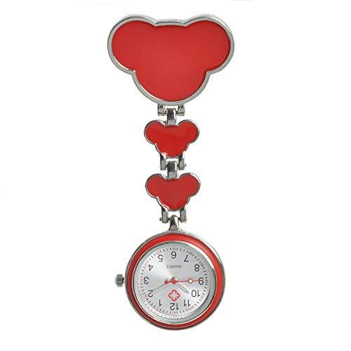 flqwe Medizinische Taschenuhren mit Clip,Krankenschwesterspezifische Wandtafeln, Untersuchungskommode für Krankenschüler rot,Schwesternuhren für Doktor Krankenschwester