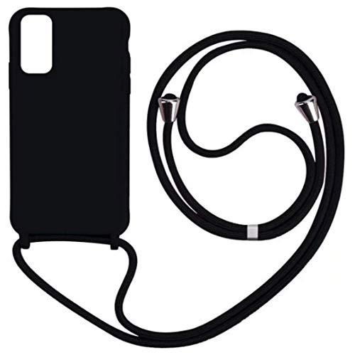 JMstore Cover Compatibile con iPhone SE 2020/iphone 6/7/8 TPU Corda Silicone Case [Regolabile] Tracolla-Collana/Necklace Cordoncino (Nero