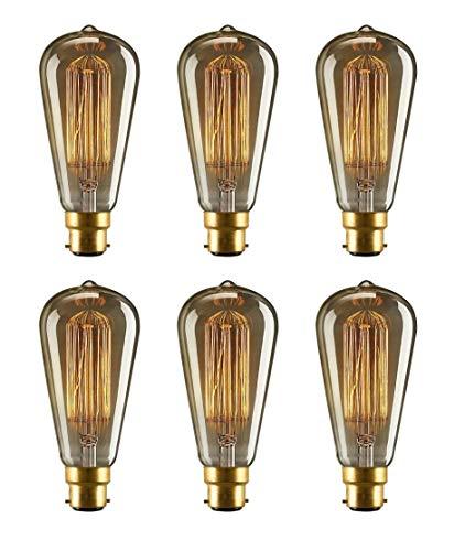 Sylvania Toledo Vintage B22 LED-Leuchtmittel, ST64 Form, Eichhörnchenkäfig-Glühfaden, dimmbar, 5,5 W, Warmweiß, dekorative Glühbirnen – 6 Stück