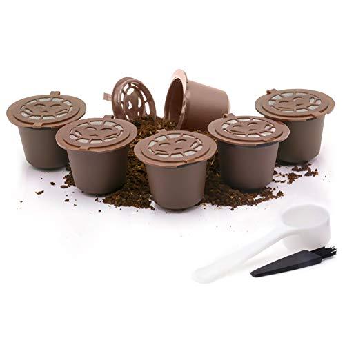 Dolce Gusto Kaffee Wiederverwendbare nachfüllbare Schoten 6-tlg mit Kompatible Filterbecher mit Schaumfunktion BPA-freie Kaffeepads für Dolce Gusto mit 2 Plastiklöffel und 2 Reinigungsbürste (6 Braun)
