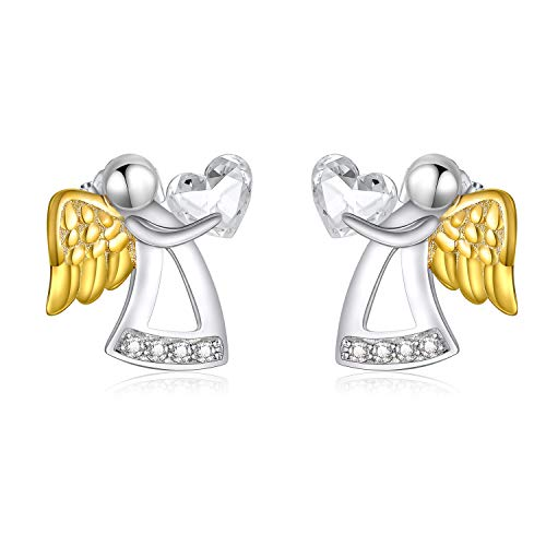925 Sterling Silver Guardian Angel Stud Earrings with Heart Crystals from Swarovski, Birthday Jewellery Gifts for Girls Women Her Girlfriend Daughter