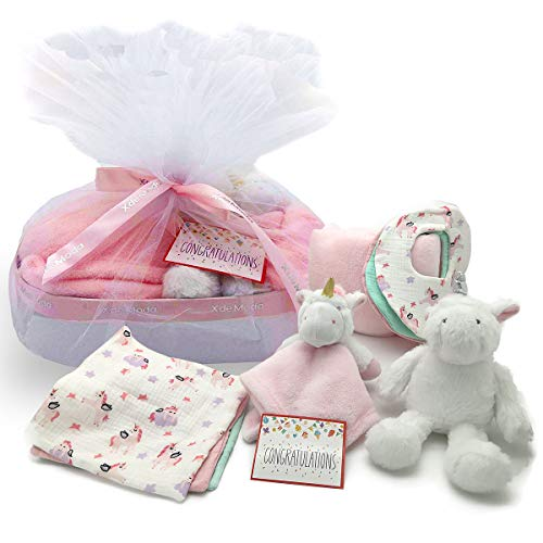 Baby Shower Gifts - New Baby Newborn Essential Gift Basket, Beautiful Unicorn Theme Gift Wrapped for a boy or Girl, All in One Registry Essential Stuff for Boys or Girls, Includes Card Perfect Set