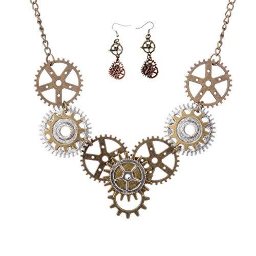 Steampunk Charm Gears Colgante Collar Gears Gota Gancho Pendientes Conjuntos de joyas