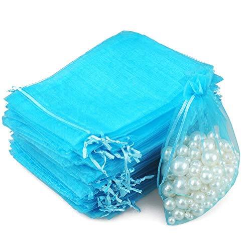 G2PLUS 100PCS Bolsas de Organza Lago azul Bolsas de Organza de Regalo Bolsitas de Tela para Boda Favores y Joyas 10x15cm