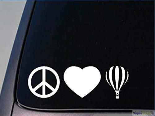 SUPERSTICKI Peace Love Ballon rijden ca 20 cm auto sticker Bike Motorfiets Fun Tuning Decal high-performance folie sticker autosticker tuning sticker high-performance folie voor alle gladde
