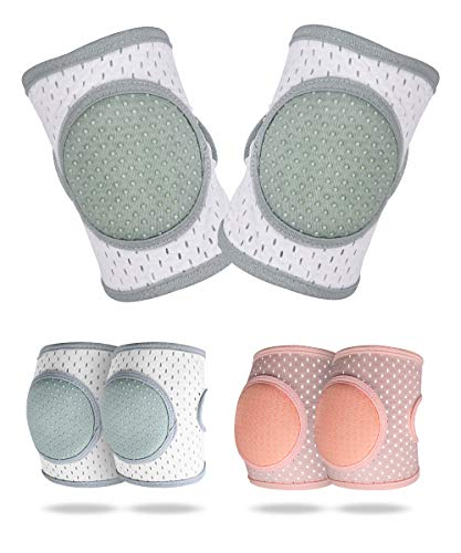 Baby Knee Pads for Crawling, Knee Pads for Baby Adjustable Protector for Toddler 2 Pairs (GREEN+PINK)