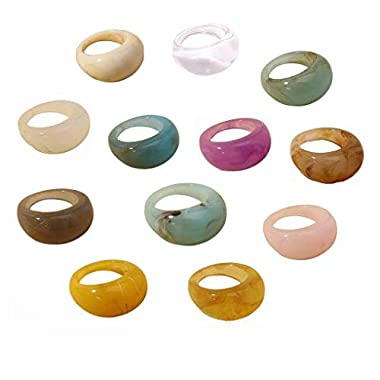 12 pcs Colorful Resin Rings Wide Thick Dome Knuckle...