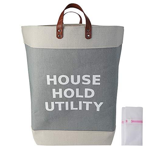 huppe(ウぺ) 洗濯カゴ 洗濯かご 脱衣かご ランドリーバッグ ランドリーバスケット ランドリーボックス 収納ボックス 折りたたみ 67L 大容量 洗濯ネット付き