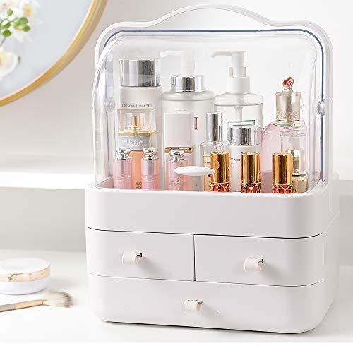 RMAN® Kosmetik Organizer Staubdicht Beauty Aufbewahrung Make Up Organizer Schmink Kosmetikbox für Dresser Bad Schlafzimmer,Weiß