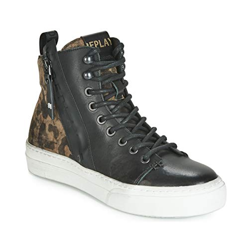 REPLAY Kasal Sneakers Donne Nero/Leopard - 40 - Sneakers Alte Shoes