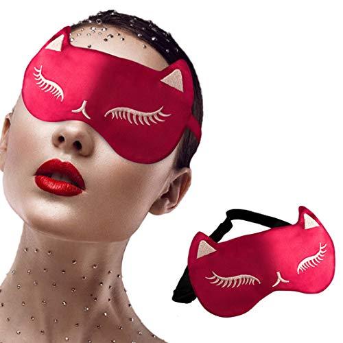 IYOU Máscara para dormir de seda de morera, máscara de ojos roja, sombra de ojos para dormir y dormir de ojos Coverig de viaje para mujeres y niñas