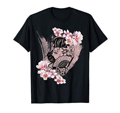 Japanische Geisha mit Kirschblüten Sakura Japan Fan Geschenk T-Shirt