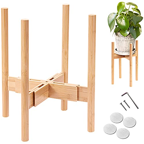 MAKE FAVE Bamboo Plant Stand – Adjustable Mid Century Indoor Plant Stands...