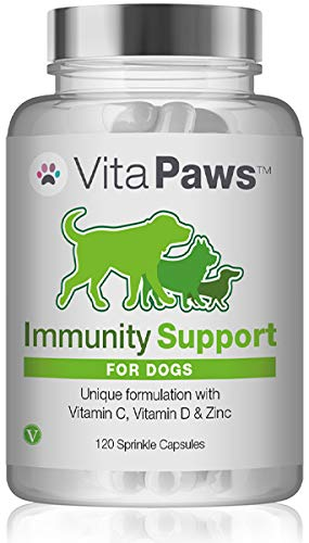 Immune Support Supplement for Dogs | Vitamin C, D & Zinc | Chicken Flavour | 120 Capsules = Up to 4 Month Supply