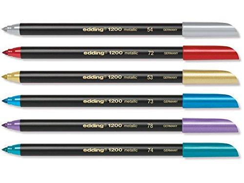 Edding 6 rotuladores especiales para escribir, pintar y marcar, para escribir a mano, ancho de trazo 1 mm, color dorado, plateado, rojo, azul, verde y morado