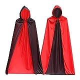 ヴァンパイア コスチューム ドラキュラ ヴァンパイア ヴァンパイアマント 赤黒 リバーシブル 男女共用 フリーサイズ (フード付き 120CM)