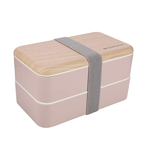 zhongqingshiKelly Poe Box, Lunchbox Kinder, Brotdose Kinder Doppelte Brotdose Brotdose Holzig, Spülmaschinengeeignet, Mikrowellengeeignet, BPA Schadstofffrei(pink)