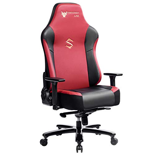 FANTASYLAB Big and Tall 400lb Massage Memory Foam Gaming Chair - Adjustable Tilt, Back Angle and 3D Arms High-Back Leather Racing Executive Computer Desk Office Chair, Metal Base (Red)