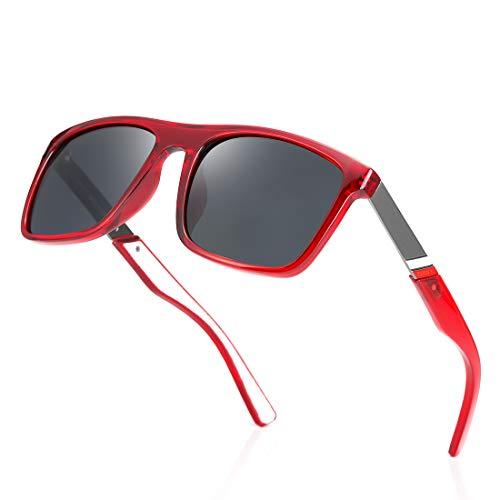 kimorn Gafas De Sol Polarizadas Para Hombres Mujeres TR90 Montura Cuadrada De Gran Tamaño Gafas Retro Clásicas K0801 (Rojo transparente)