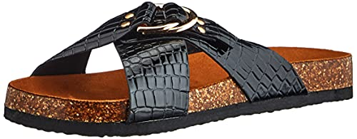 ONLY ONLMAXI-2 PU Croc Crossover Sandal, Sandalia Hombre, Negro, 37 EU