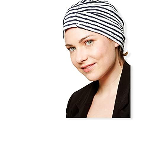 Belle Turban, Turbante para Mujer, Modelo Safir-T, Estampado Marinero, Talla única, Elegante Gorro Oncológico, Hecho con Algodón Orgánico, Suave y Transpirable, No Irrita, Fabricado en España