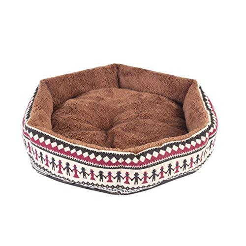 EAS - Alfombra de lona hexagonal para perro, gato, gato, cerdo, hámster o conejo, color amarillo y azul, granate, Small