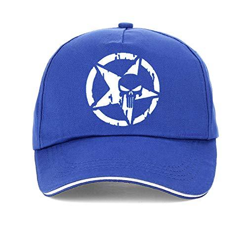 cappelloCappellino da Baseball Berretto Estivo Uomo DonnaStampato Berretti da Baseball Frank Castle Cappello Snapback Regolabile Gorras Blue