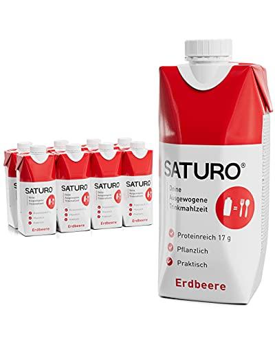 Wysokokaloryczna żywność SATURO, napój proteinowy, zamiennik diety do kontroli wagi, truskawka, 8 x 330 ml