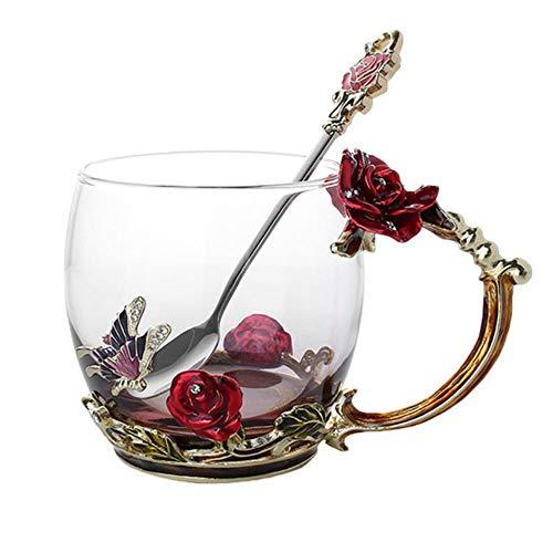 Unbekannt Emaille Kaffee Teetasse Becher 3D Rose Schmetterling Glasbecher Hochzeitsgeschenk LAD, Red Short Mit Löffel