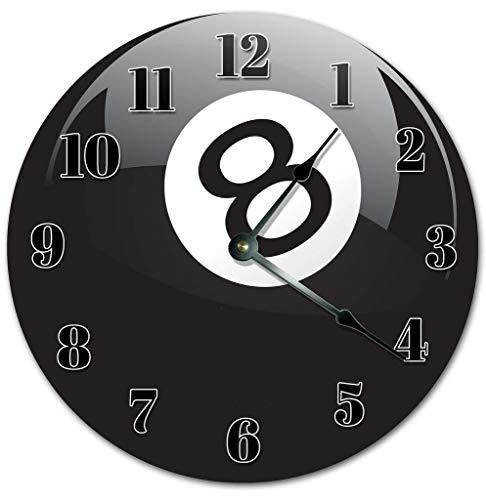 Kinhevao 10 Zoll Schwarz 8 Ball Billard Uhr - Wohnzimmeruhr - Große 10 Zoll Wanduhr - Home Decor Uhr