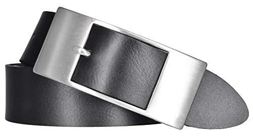 Mytem-Gear Damen Leder Gürtel 35 mm Nappaleder Damengürtel (95 cm, schwarz)