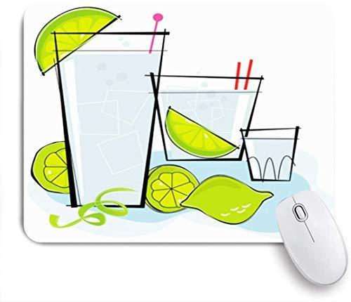 Benutzerdefiniertes Büro Mauspad,Blue Tonic Retrostylized Cocktail Spot Wodka Gin Food Drink Retro 1950er Jahre Ice Lime Styled Kitsch Lounge,Anti-slip Rubber Base Gaming Mouse Pad Mat