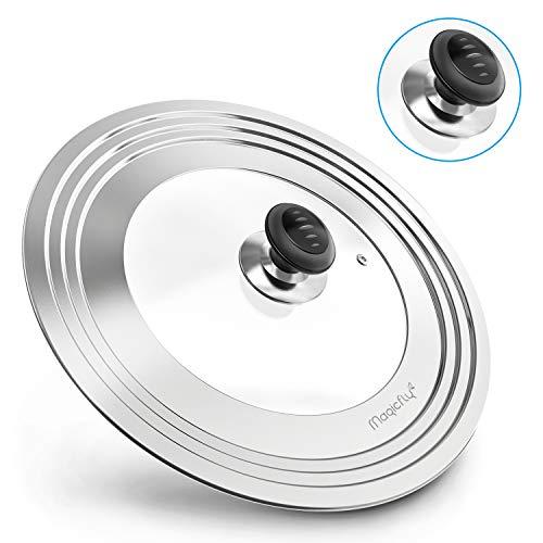 Magicfly Universaldeckel Topfdeckel Topf Pfanne Deckel mit extra Knopf aus Edelstahl & Hartglas, für 20.3 bis 31.7cm, Silber