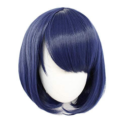Anogol Hair Cap +Blue Cosplay Wig with Bangs Short Natural Wavy Bob Wigs for Girls Blue Wigs for Japanese Anime