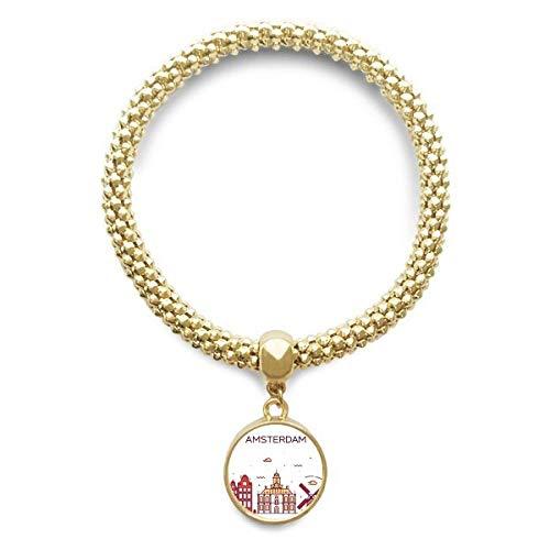 DIYthinker Womens Amsterdam Flat Landmark gouden armband ronde hanger sieraden ketting
