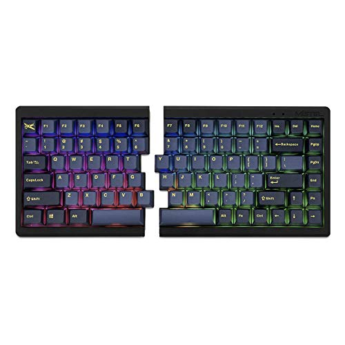 Mistel BAROCCO MD770 RGB Wired + Wireless Bluetooth TKL Split Mechanical Keyboard with Cherry MX Black Switch, Ergonomic Gaming Keyboard, Yellow Letter Glaze Blue PBT DoubleShot Keycaps, Macro Support