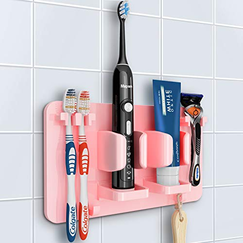 Mspan Toothbrush Razor Holder for Shower: Hanging Adhesive Wall Mount Toothbrush Toothpaste Bathroom Storage Organizer for Mirror Tile, Pink