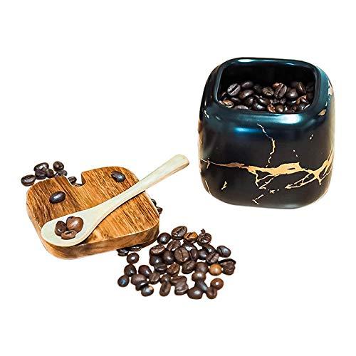Zuccheriera in Ceramica, Condimento Box con Coperchio e Cucchiaio, Spezia Jar Cucina Scatola Barattolo di Spezie, Utensili da Cucina Forniture per Spezie (Nero)