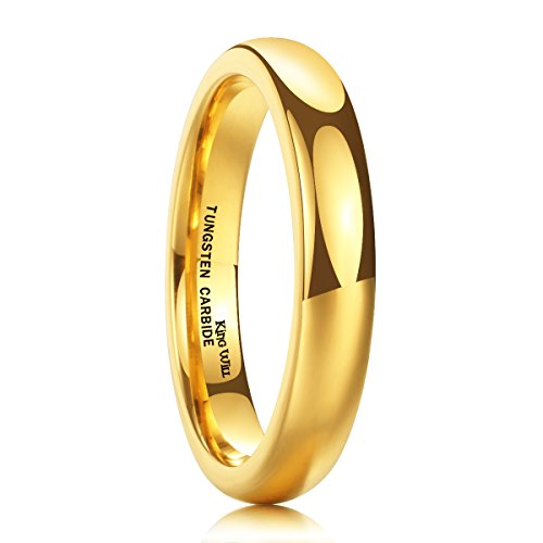 King Will GLORY 6mm 24k Gold Plated High Polished Comfort Fit Domed Tungsten Ring Wedding Band Z+1