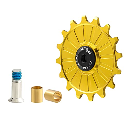 lahomia Ruota di Guida, deragliatore Posteriore per Bicicletta da Strada con Cuscinetto in Ceramica in Lega di Alluminio di qualità - 16T Oro