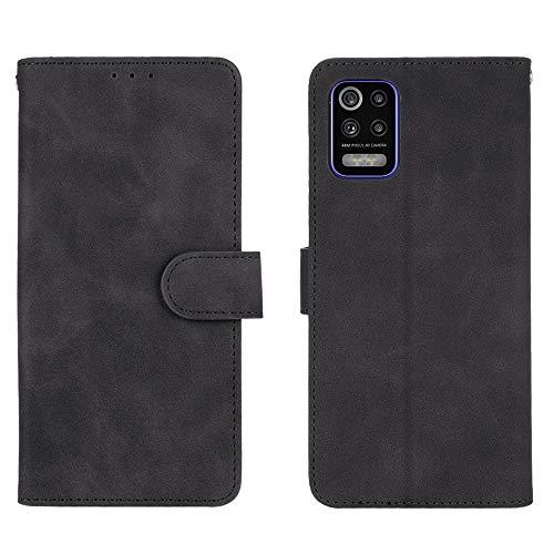 HAOREN Leder Hülle für LG K52 Hülle, Premium PU/TPU Leder Folio Hülle Schutzhülle Handyhülle, Flip Hülle Klapphülle Lederhülle mit Standfunktion und Kartensteckplätzen, Schwarz