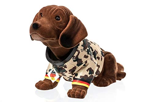 Rakso Oskar Schneider GmbH & Co. KG Wackeldackel groß 29 cm im Bundeswehr-Shirt Tropentarn - mit Echtheits-Zertifikat