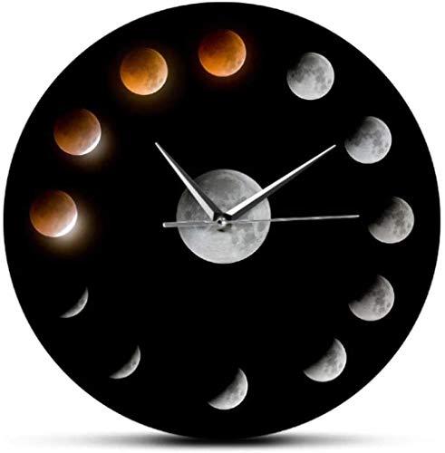 Serie de Eclipse Lunar Total Fases de la Luna Super Moon Reloj de Pared Celestial Espacio Exterior Ciclo Lunar Decoración del hogar Reloj de Pared silencioso-30X30cm