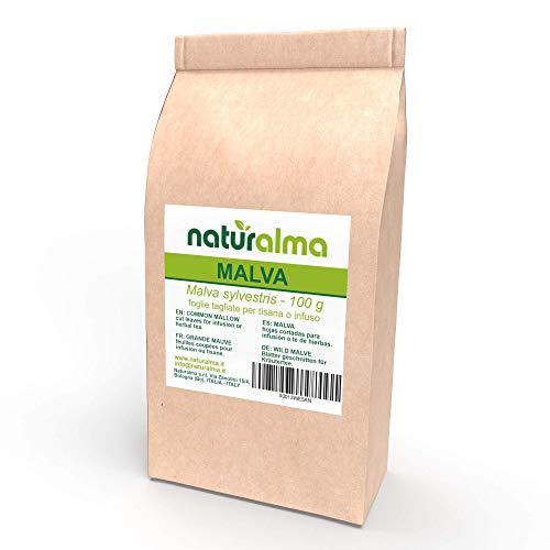 WILDE MALVE (Malva sylvestris) NATURALMA 100 g Blätter geschnitten für Kräutertee Veganer