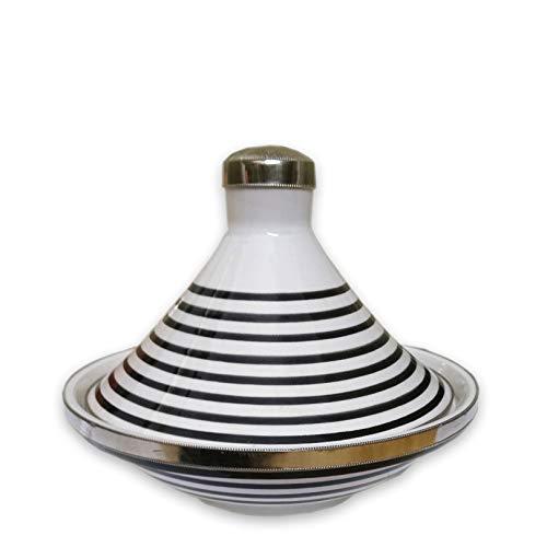 """Marokkanische tajine""""Ziertagine"""" Weiß Schwarz klein 17cm Durchmesser   Dekoratives Tongefäß aus Marokko   marokkanische Ziertajine"""